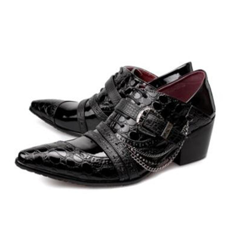 цена на Mens Shoes High Heels Black Genuine Leather Formal Shoes Men Pointed Toe Classic Elegant Office Dress Loafers Crocodile Italian