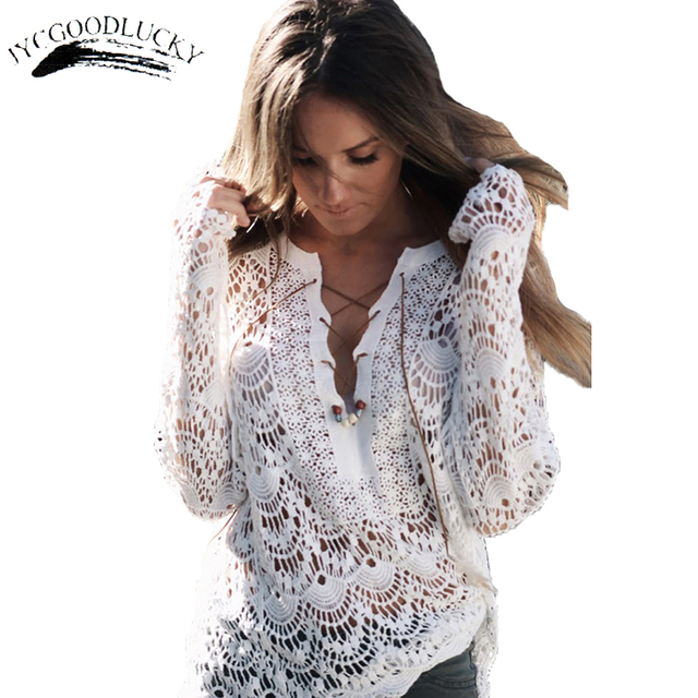 e6d78cb1e White Beach Blouse Cover Up Top Plus Size For Women Blusa Lace Up Shirt  Women's Blouse Summer Crochet Lace Blouses Tops Sweet