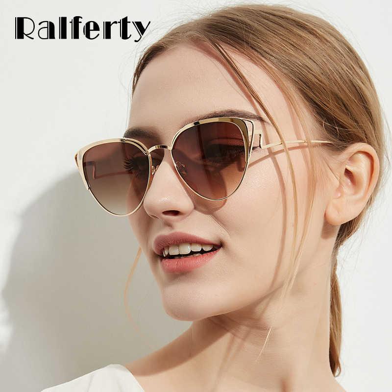 60325f0f047 Ralferty Luxury Ladies Sunglasses Women 2018 New Cat Eye Sunglass Female  Brown Gradient Sun Glasses Cateye