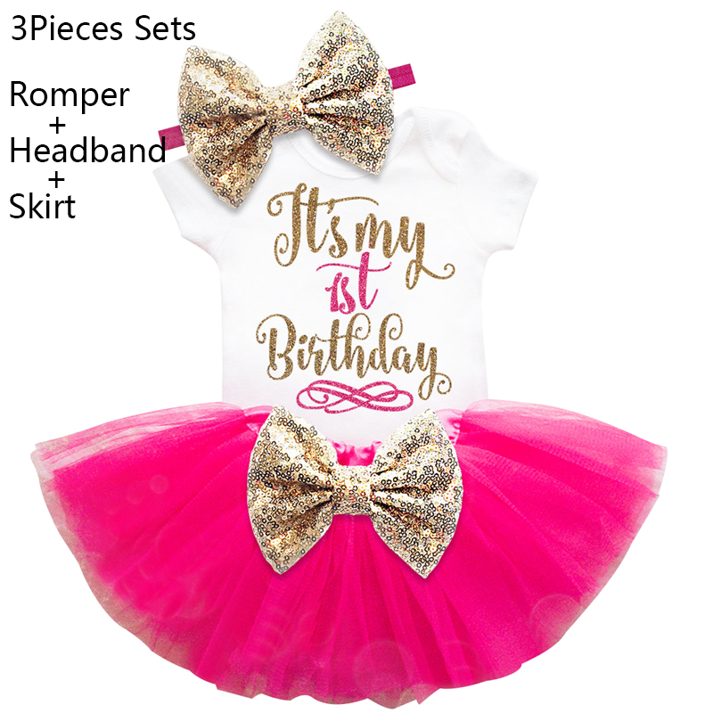 Ai Meng Baby Girl First Birthday Outfits Toddler Infant Clothing Sets Newborn Bebes Party Wear Gold Bow Cake Smash Suit One Year 1 year tutu baby girl clothing sets infant romper tulle skirt headband kids party costume bebes one birthday outfits vestidos