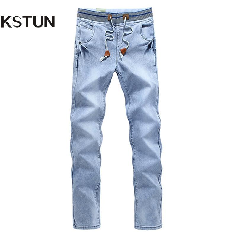 Summer Men Jeans Trousers Light Blue Elastic Waist Drawstring Slim Denim Pants Pocket Rivets Buttons Design Casual Joggers Homme