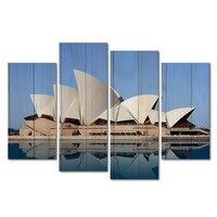 4 פנלים בית האופרה של סידני תמונות עבור אוסטרליה נוף בד ציור קיר ציורים לקישוט בית בניין מפורסם