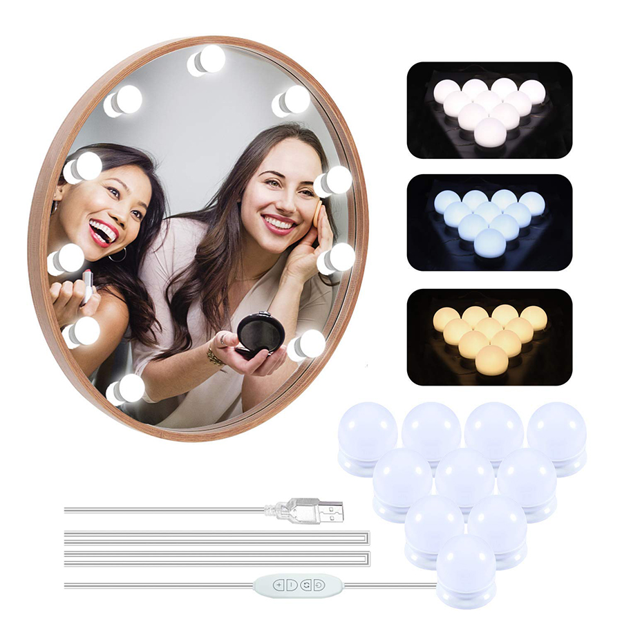 USB 3 Colors Dimmable 10 LED Vanity Lights Bulb Hollywood Style Makeup Lamp For Dressing Table Bathroom Vanity Mirror Light