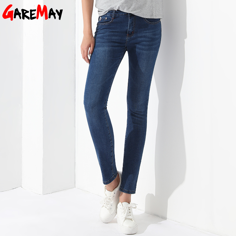Straight Casual Jeans Women Trousers Elastic Waist Stretch Denim Pants Ladies Pantalon Femme Casual Cotton Blue Jeans GAREMAY women girls casual vintage wash straight leg denim overall suspender jean trousers pants dark blue