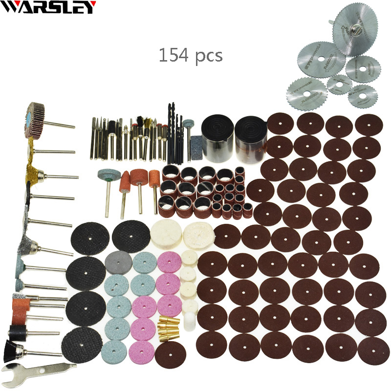 154pcs/ Engraver Abrasive Tools Accessories Dremel Rotary Tool Accessory Set Fits For Dremel Drill Grinding Polishing Saw Blade 80pcs green set 22mm diameter abrasive buffing polishing wheels with plastic box for dremel rotary tools