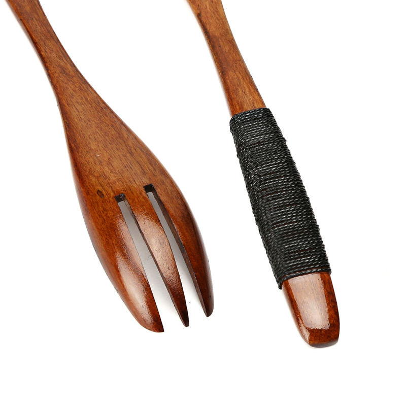 Set of 2 Wood Fork and Spoon Set Japanese Style Long Handle Wooden Salad Fork Rice Soup Spoon Set Wood Cutlery Set Dinnerware (6)