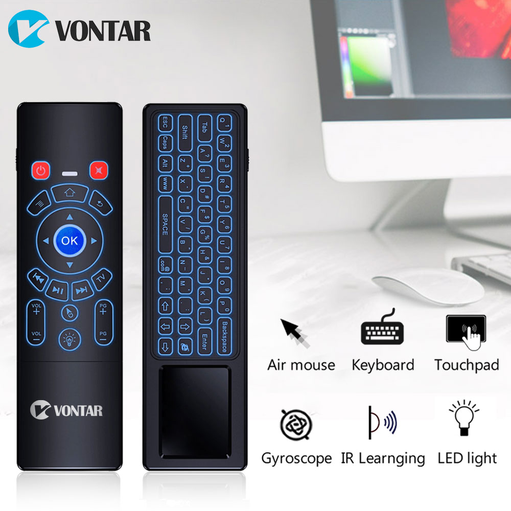 лучшая цена 2.4G T6 plus Air mouse English Russian backlit Wireless Keyboard touchpad Remote Control for Android TV Box X96 mini X98 X92 PC