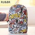 RU&BR Fashion Street Graffiti School Backpack Girls Boys Canvas Bags For Teenagers Feminina Backpacks Hot Travel Bag Laptop Bag