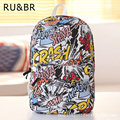 RU & BR Moda Rua Graffiti Mochila Escolar Meninos Meninas Sacos De Lona Para Adolescentes Mochilas Feminina Quente Bolsa de Viagem Laptop saco