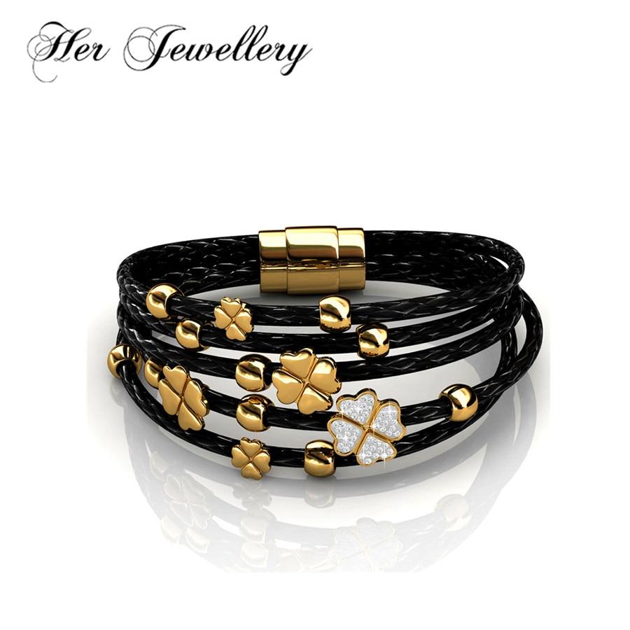 b132f702430f Su joyería de moda cuero amor pulsera cuero y latón encanto mujer pulsera  hecha con cristales de ...