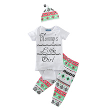 newborn clothing set 2017 summer letter romper+geometry pants+hat 3pcs baby clothes high quality cute little girl clothing sets