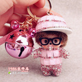 Glasses Monchichi Key chain Sleutelhanger Strass Keychain Keyring Fluffy Ribbit Fur Ball Pom Pom Women Bag Charm Porte Clef M176