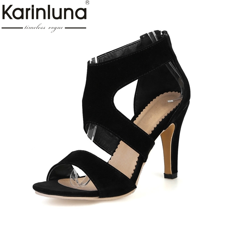 KARINLUNA New Big Size 34-43 Thin High Heels Rome Style Woman Shoes Sexy Gladiator Zip Up Party Dating Sandals Lady Footwear 2016 new fashion sexy shoes fretwork lace up spike high heels large size shoes woman sandals sapatos gladiator shoe melissa