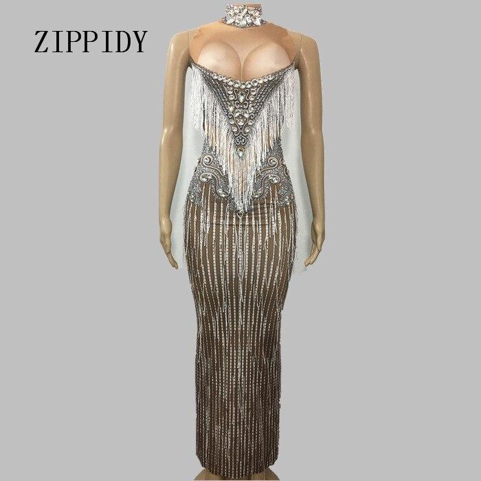 Shining Big Crystals Tassel Dress Sexy Nightclub Stones High Neck Long Dress Costume Prom Birthday Celebrate