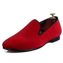 Harpelunde Slip On Men Wedding Shoes Red Velvet Loafers Size 7-14