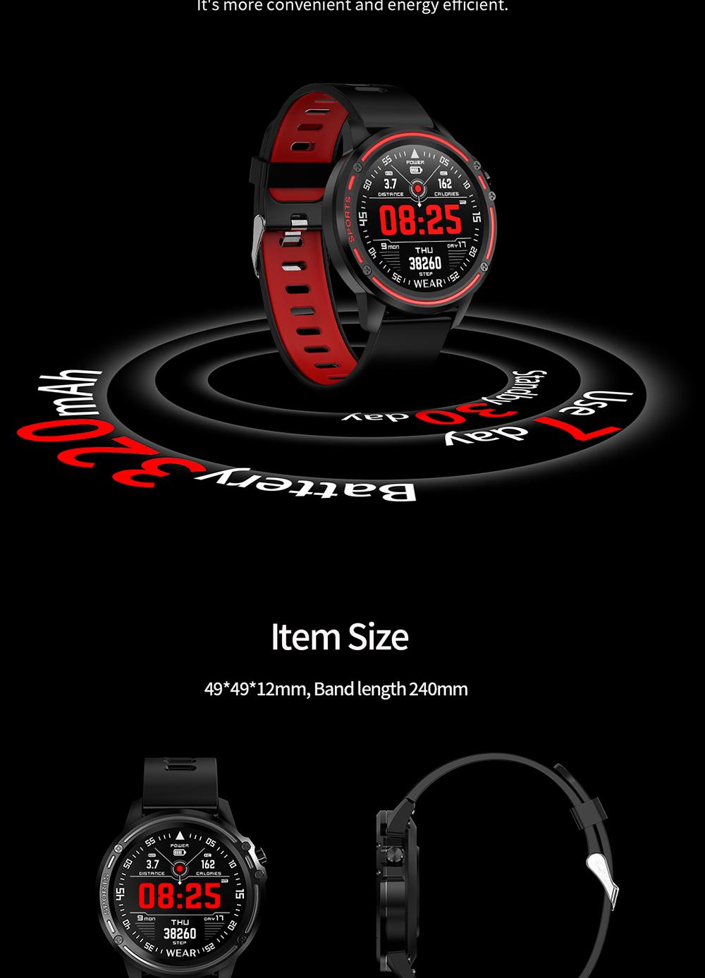 Reloj inteligente L8 IP68 para Hombre, Reloj inteligente resistente al agua con ECG presión arterial mediante PPG, relojes deportivos para fitness 17