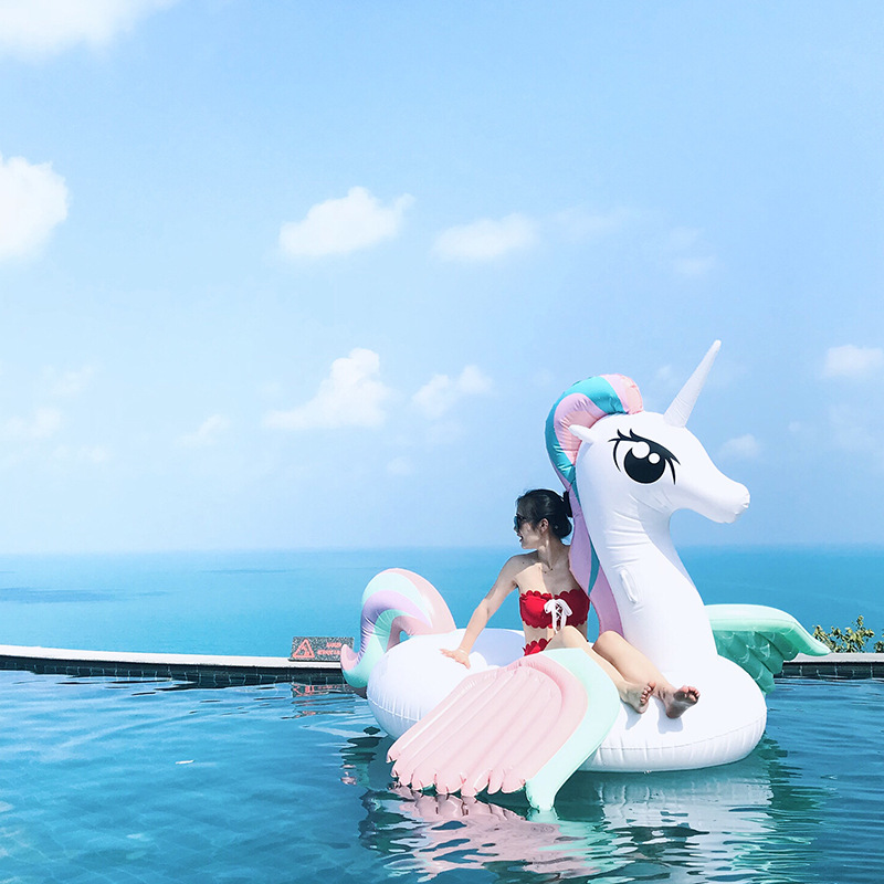 220cm 86Inch Swimming Pool Inflatable Color Unicorn Pool Float In Water Floatig Island Water Sports Air Mattress Beach Fun Toys