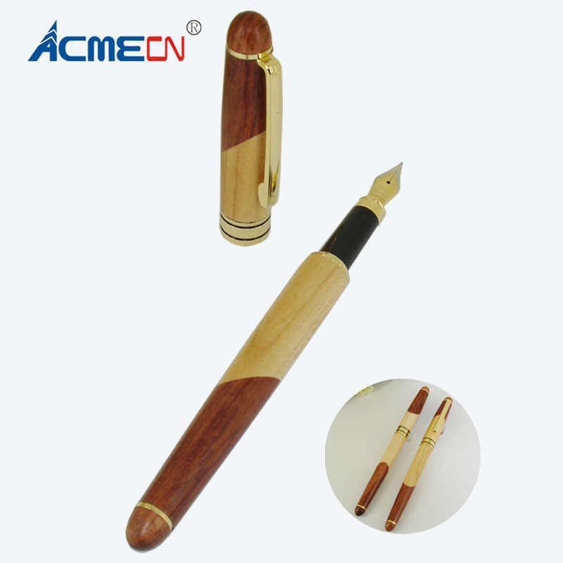 Acmecn Hot Sale Newest Handicraft Wooden Fountain Pen Office Stationery Maple And Rosewood Decoration Liquid Ink Pens Gifts Wood