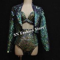 F81 со стразами сексуальный женский костюм dj певица бальных танцев костюмы ds бикини бюстгальтер Бар сцена носит бриллиантами платье ткань