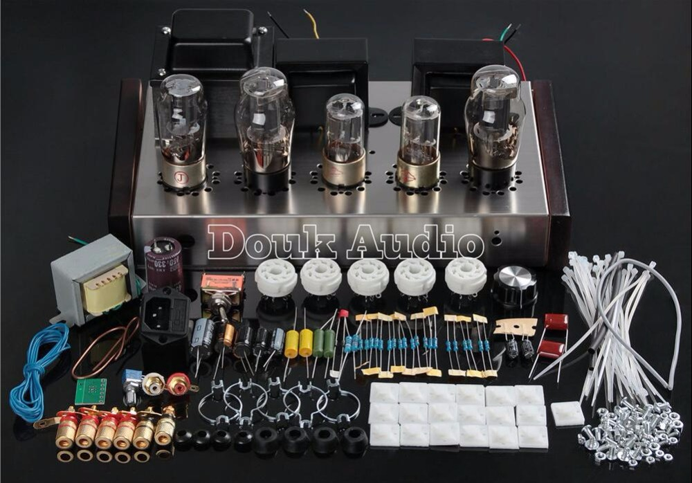 2017 Latest Douk Audio 6N8P+6P3P HIFI Single-Ended Pure Class A Tube Amp Vacuum Power Amplifier DIY Kit