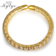 Mytys Brand Designer Wire Mesh Tennis Bracelet Inside Crystal Chain Mesh Net Tube Bracelet Open Cuff Free Size Jewelry B1033