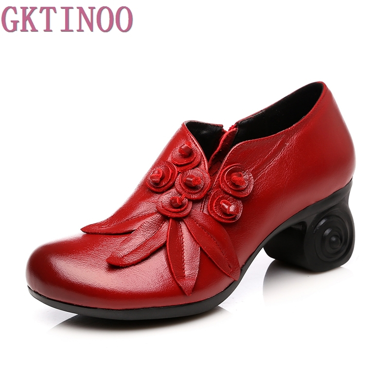 GKTINOO Flower Genuine Leather women pumps high heels shoes for women Female Soft Autumn Handmade office Shoes