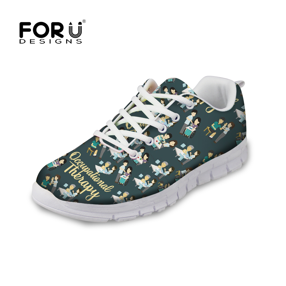 FORUDESIGNS Flat Shoes Women Occupational Therapy Printing Sneakers for Female Breathable Mesh Sneakers Teen Girls Kawaii Flats judi edmans occupational therapy and stroke