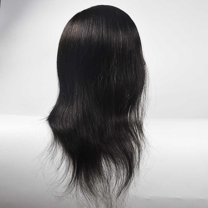 """Kobieta 14 """"100% naturalne ludzkie włosy manekin głowy profesjonalny fryzjerów szkolenia manekina kosmetologii Maquiagem peruka lalki"""