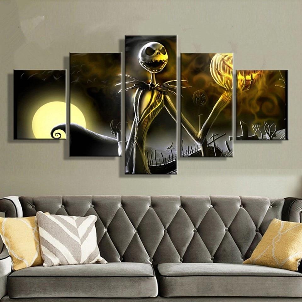 Online Shop Canvas Prints Wall Art Pictures 5 Pieces Hallowmas Jack ...