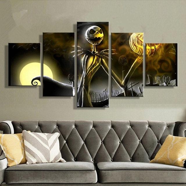 canvas prints wall art pictures 5 pieces hallowmas jack skellington painting living room decor nightmare before