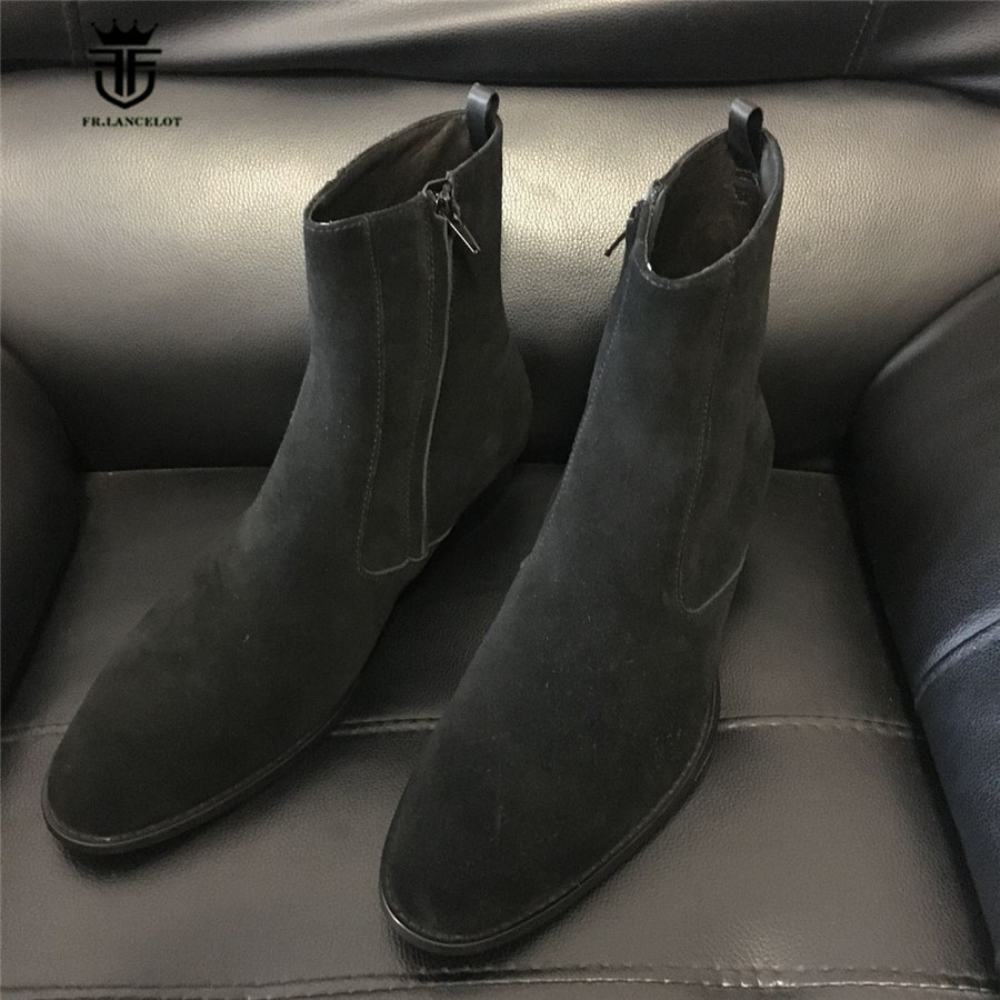 New Handmade Customized High Slim Suede Black Genuine Leather Cowbody Chelsea Boots Wedge Dress Wedding Zipper Boots customized new exclusive design handmade