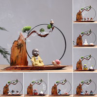 Chinese style meditation Little monk school creative Home tea decorating office Antique and curio shelves statue home decoration