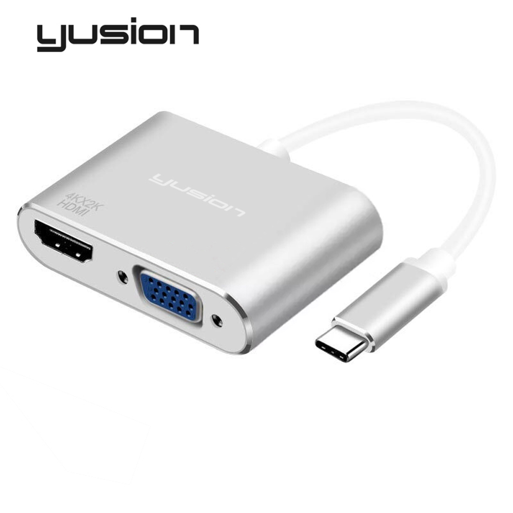 Yusion USB-C Type-C to HDMI And VGA Female 2 Ports Converter HD 4K 1080P For macbook ChromeBook