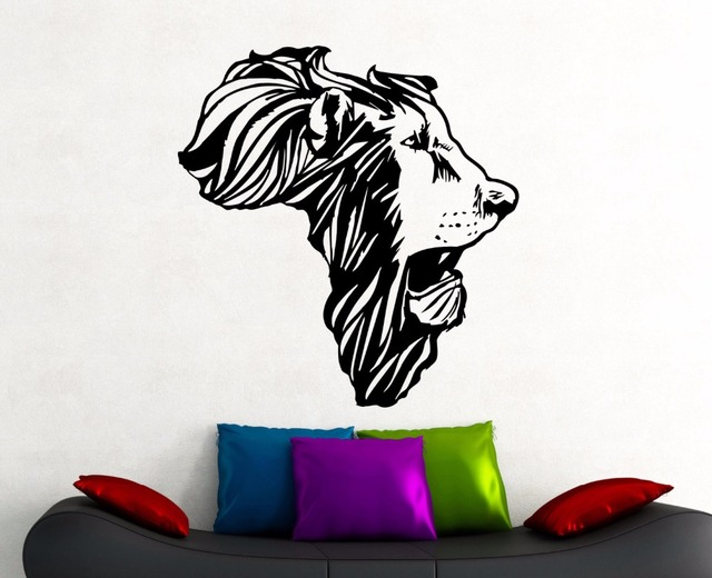 Lion Head Africa Map Wall Decal African Animal Map Decorations Home Living Room  Bedroom Decor Vinyl