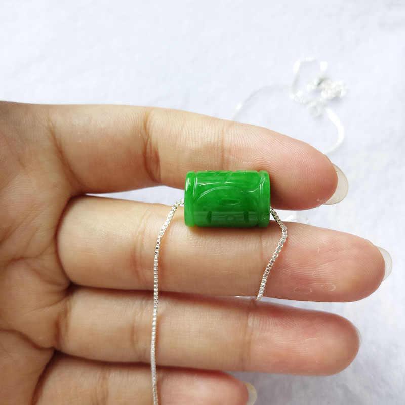 Yu Xin หยวนเครื่องประดับธรรมชาติ Stem สีเขียวหยกลูกปัด Pendan
