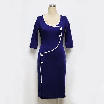 Elegant Women Vintage Office Work Dress Casual 3/4 Sleeve Business Bodycon Female Pencil Plus Size Womens Dresses Vestidos 2018 1