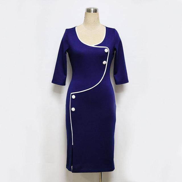 Vintage O-Neck Bodycon Pencil Dress