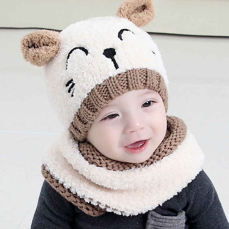 Adorable Hotest Toddler Infant Baby Girls Boys Warm Hat Winter Hooded Scarf Ear flap Knitted Cap Cute Gift Suit For 1-3 T