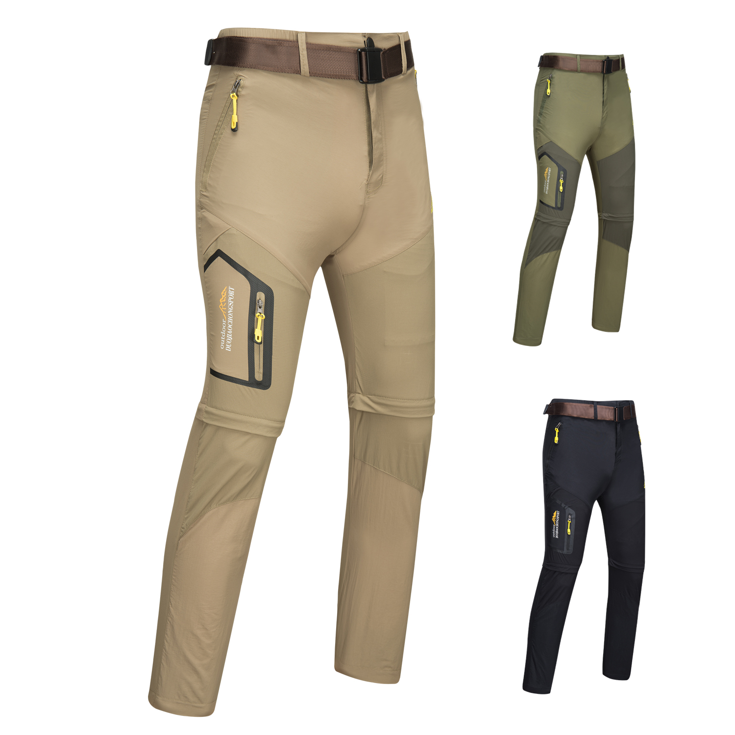Outdoor Men Tactical Lightweight Zip Off Quick Drying Stretch Convertible Cargo Pants Shorts Bottom For Hiking Camping Travel