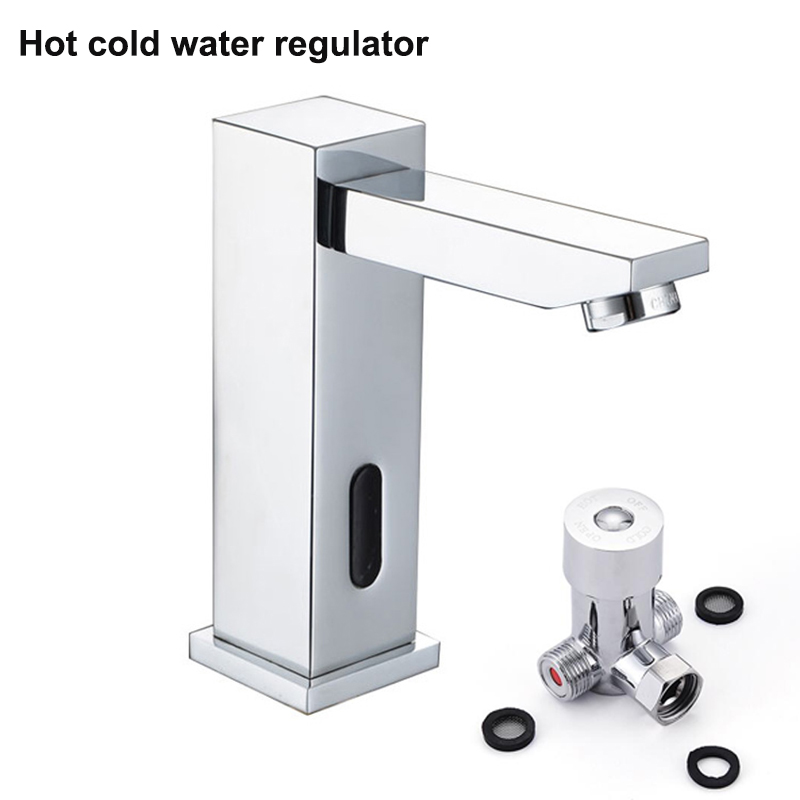 Water Saving Touch Free Chrome Square Faucet Automatic Sensor Tall ...