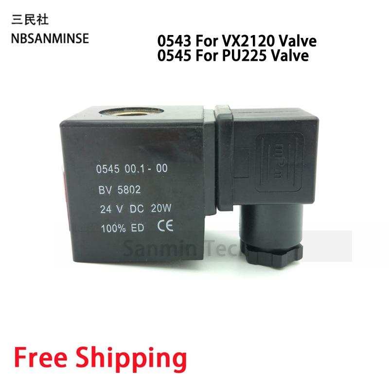 0543 / 0545 Pneumatic Control Air Electrical Solenoid Valve Coil DC12V DC24V AC110V AC220V For VX2120 PU225 Valve Sanmin 10mm dia pneumatic control air solenoid valve coil ac 220v 6va