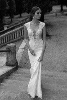 Berta Winter 2017 Lace Sheer Wedding Dresses Deep V Neck Illusion Back Mermaid Wedding Bridal Dresses Gowns