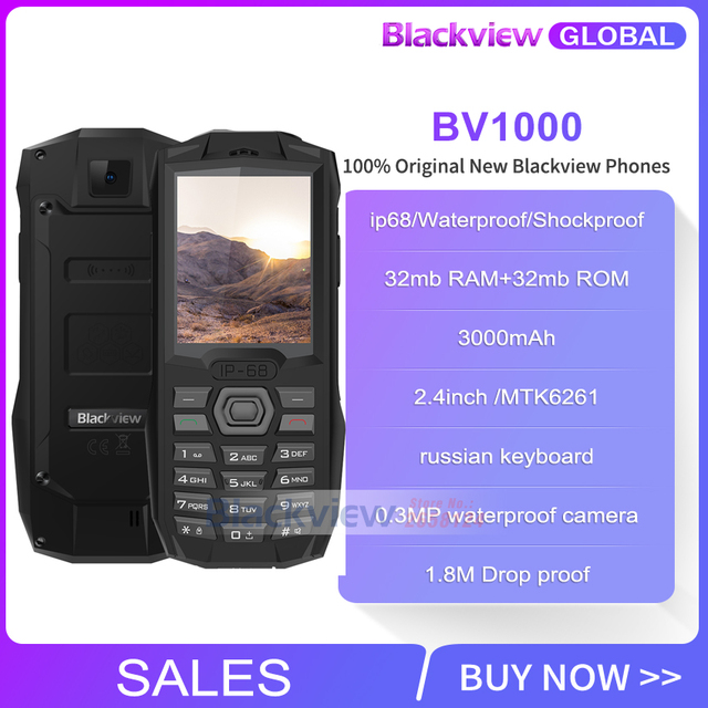 Fast shipping for 2019 Blackview BV1000 IP68 smartphone Waterproof Shockproof Rugged Mobile Phone 3000mAh Mini Flashlight