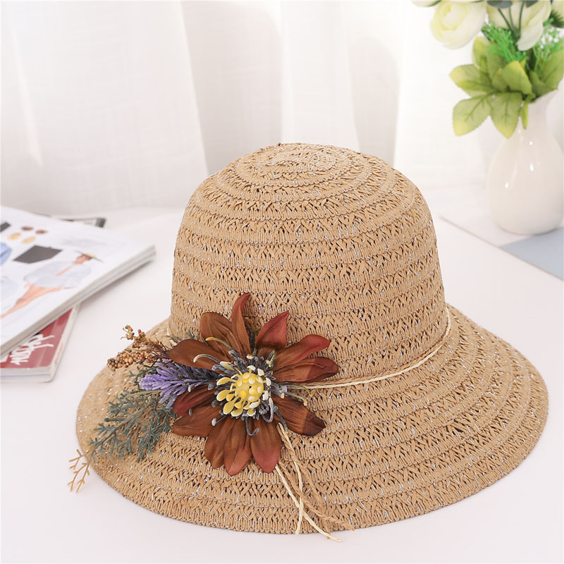 Women Sun Protective Strawhat Artificial Flower Decor Breathable Bucket Hat -MX8