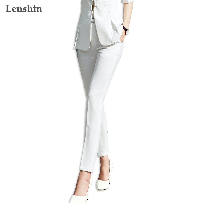 Pencil Pants With Pocket Faction Style Ankle-Length Trousers Women Casual Solid Women Elegant Office Lady