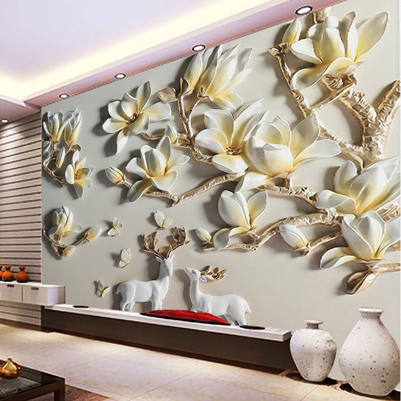 Bacaz Plaster Orchid Flower ART Large Mural 8d/3D Wallpaper Mural for Living Room 3d Wall paper 8d Photo Murals 3d Wallcoverings shinehome black white cartoon car frames photo wallpaper 3d for kids room roll livingroom background murals rolls wall paper
