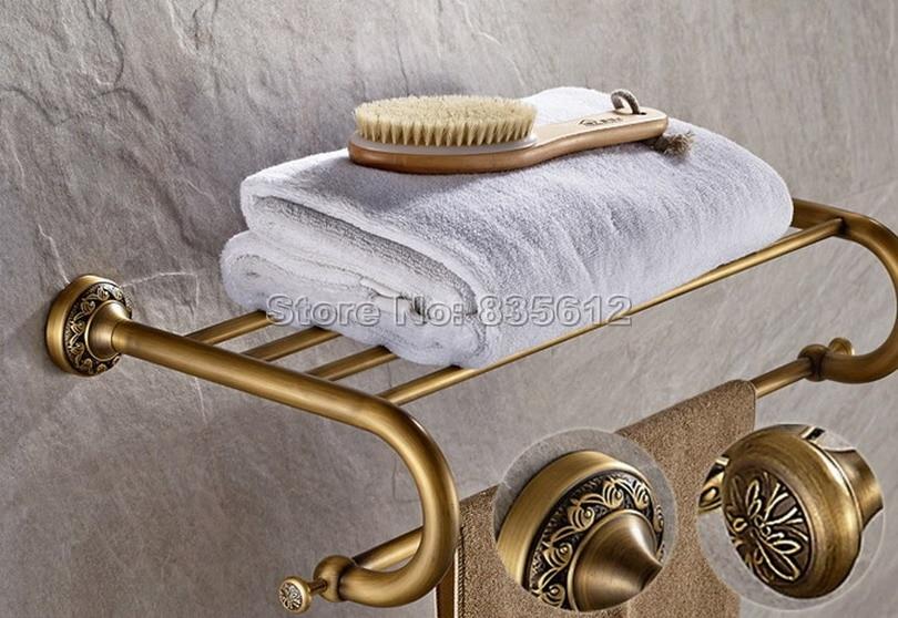 Antique Brass Wall Mounted Bathroom Brief Style Towel Rack Holders Wba484 antique brass bathroom wall mounted double towel bar holders cba093