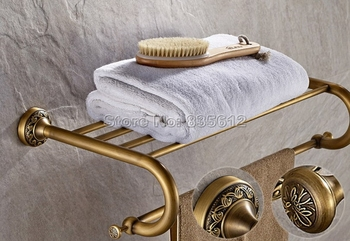 Antique Brass Wall Mounted Bathroom Brief Style Towel Rack Holders Wba484