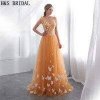 H&S BRIDAL Gold Evening Dress O Neck dress elegant Evening Gown With Butterfly women dresses evening party vestido de festa