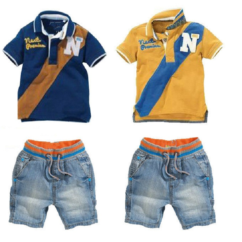 Casual Baby Boys Clothes Suits Children Polo T-Shirt + Shorts Jeans 2-Pieces Clothing Sets Kids Tee Shirts Panties Boy's Outfits